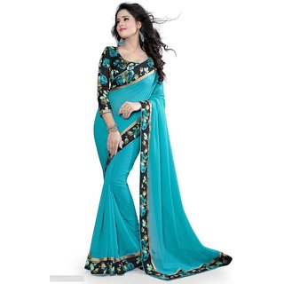 Pari Designerr Blue Georgette Self Design Saree With Blouse