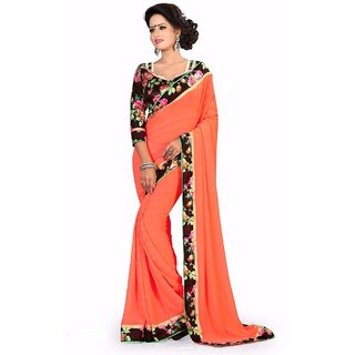 Pari Designerr Orange Georgette Self Design Saree With Blouse