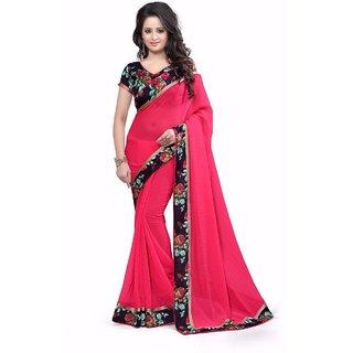 Pari Designerr Red Georgette Self Design Saree With Blouse