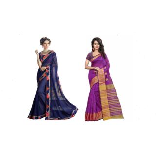 Pari Designerr Multicolor Georgette Printed Saree With Blouse