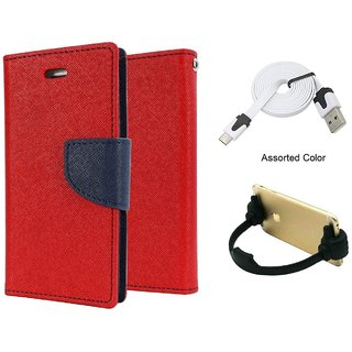Mercury Wallet Flip case Cover For HTC Desire 516  (RED) With Micro Usb Flat Cable + Ok mobile Stand