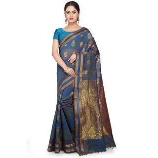 Kanchipuram Butter Silk and Cotton Saree in Dusty Blue