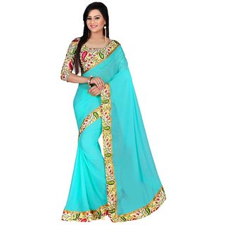 Pari Designerr Blue Georgette Printed Saree With Blouse