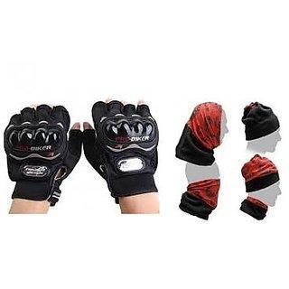 love4ride Combo Black Probiker Half Hand Golves +  Buff Headwear