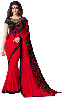 Pari Designerr Red Georgette Embroidered Saree With Blouse