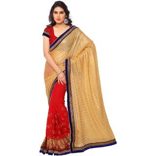Pari Designerr Multicolor Chiffon Embroidered Saree With Blouse