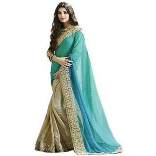 Pari Designerr Multicolor  Georgette  Embroidered Saree With Blouse