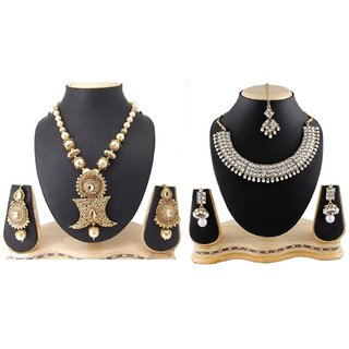 Biyu Gold Alloy Gold Plated 1 Necklace, 2 Pc Bangle For  Women,Girl