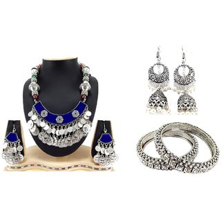 Biyu Silver Alloy Silver Plated 1 Necklace, 2 Pc Bangle, 1 Pair of Earring For  Women,Girl