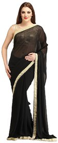 Pari Designerr Black Georgette Embroidered Saree With Blouse