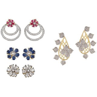 9blings Combo American Diamond  Changeable Colour Gold Plated 2 Pair Of Earring
