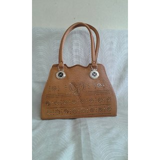 6efd50f555d8 Ladies Hand bag Golden Design (Khaki)