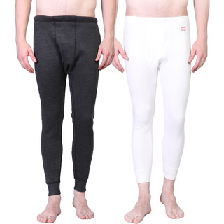 Vimal Winter King Black And White Thermal Bottom For Men(Pack Of 2)