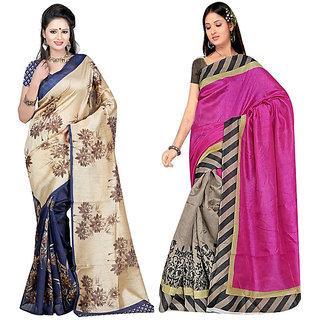 Pari Designerr Multicolor Silk Printed Saree With Blouse