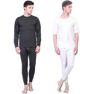 Vimal Winter King Black And White Thermal Upper & Bottom Set For Men(Pack Of 2)
