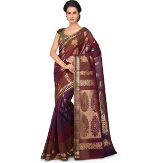 Kanchipuram Butter Silk and Cotton Saree in Violet