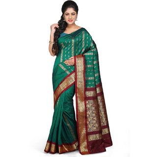 Kanchipuram Art Silk Saree in Dark Green