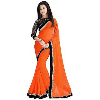 Pari Designerr Orange Georgette Printed Saree With Blouse