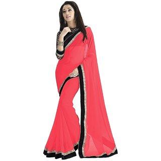 Pari Designerr Pink Georgette Printed Saree With Blouse