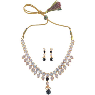 Rejewel 22K Gold Plated Uncut Necklace Set For Women
