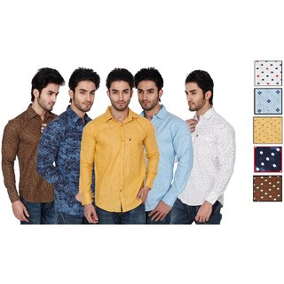 Black Bee Pack of 5 Printed Poly-Cotton Shirts For Men