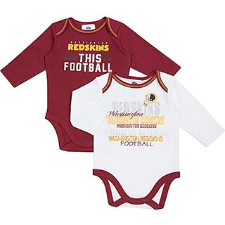 NFL Washington Redskins Girls Long Sleeve Bodysuit (2 Pack), 0-3 Months, Red/White