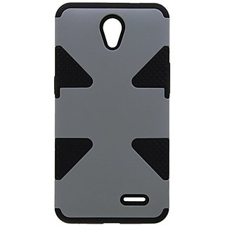 HR Wireless Dynamic Cover Case for ZTE Prestige N9132 - Retail Packaging - Grey/Black