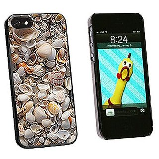 Graphics and More Sea Shells Ocean Beach Snap-On Hard Protective Case for iPhone 5/5s - Non-Retail Packaging - Black