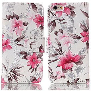 Splendid(TM), iPhone 6/6s pink flower case, iPhone 6/6s pink wallet case designer flower pattern flip stand pu leather b