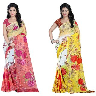 Stylobby Multicolor Georgette Printed Saree