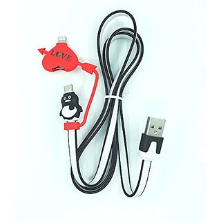 Black LED Light Lovely Carton Figure 2-in-1 3-Feet Long Data & Charging Cord for iPhone 5, iPhone 6 and Samsung Smart Ph