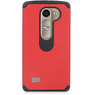 Eagle Cell Rubberized Hybrid Case for LG Tribute 2 LS665/Leon C40/Power L22C - Retail Packaging - Black/Red