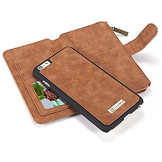 IPhone 6 plus Case, CaseMe 2 in 1 Multi-functional Leather Flip Folio Large Capacity Genuine Leather Wallet Card Slots B