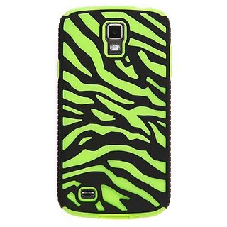 Cell Armor Novelty Fit/Snap Case for Samsung Galaxy S4 Active i9252 - Retail Packaging - Green Zebra/Black