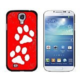 Graphics and More Paw Prints Distressed Red Snap-On Hard Protective Case for Samsung Galaxy S4 - Non-Retail Packaging