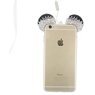 S&C Luxury Girls Gift 3D DIY Diamond Bling Crystal Rhinestone Lovely Mickey Ear Design Transparent TPU Shell Phone Case