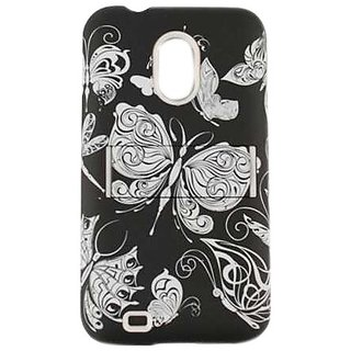Cell Armor Jelly Case for Samsung Epic 4G Touch - Retail Packaging - White Butterflies on Black