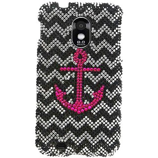 Cell Armor Snap Case for Samsung Epic 4G Touch - Retail Packaging - Full Diamond Crystal Pink Anchor on B and W Chevron