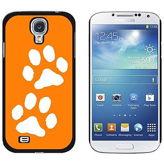 Graphics and More Paw Prints Orange Snap-On Hard Protective Case for Samsung Galaxy S4 - Non-Retail Packaging - Black