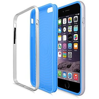 Eagle Cell Luxury Hybrid Metal Bumper/TPU Case for Apple iPhone 6 Plus - Retail Packaging - Blue/Silver