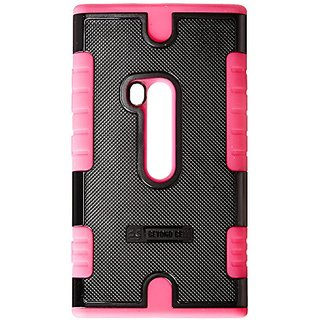 Beyond Cell Duo-Shield Hard Shell and Silicone Skin Case for Nokia Lumia N920 - Non-Retail Packaging - Black/Hot Pink