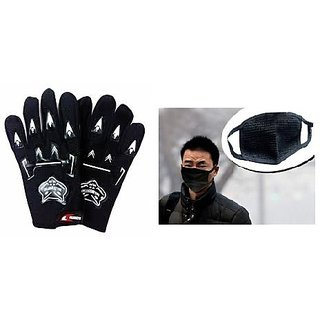 love4ride Combo Full Knighthood Gloves Black Anti Pollution Face Mask