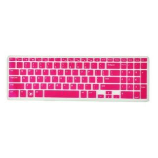 Silicone Laptop Keyboard Cover Skin Protector for Dell Inspiron New 15R N5110 M5110 M511R Us Layout (Rose Red Semitransp