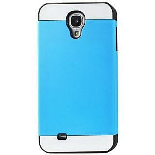 Reiko TPU/PC Protector Cover with Interior Card Holder for Samsung Galaxy S4 - Non-Retail Packaging - Black/Blue