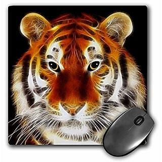 3dRose LLC 8 x 8 x 0.25 Inches Mouse Pad, Tiger Fractalius Art (mp_6607_1)