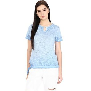 Grain Womens Blue Poly Cotton Solid T-Shirt
