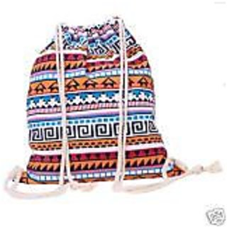 Aeoss Canvas Aztec Geometric Tribal Print Drawstring Gym College School Backpack Bag (A297orgblu)