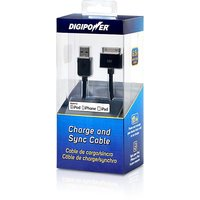 DigiPower PD-DCB Charge And Sync Cable For IPhone, IPad And IPod (with 30-pin Connector) - Retail Packaging - Black
