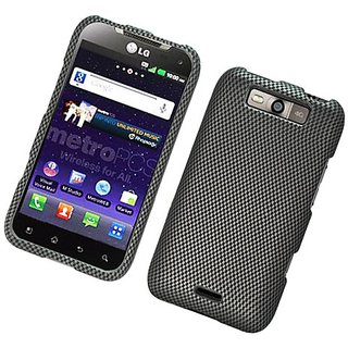 Eagle Cell PILGMS840R127 Stylish Hard Snap-On Protective Case for LG Connect 4G MS840 - Retail Packaging - Carbon Fiber