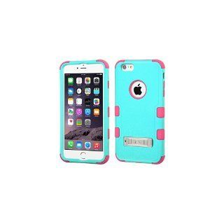 MyBat TUFF Hybrid Phone Protector Cover with Stand for iPhone 6 Plus - Retail Packaging - Green/Pink/Teal